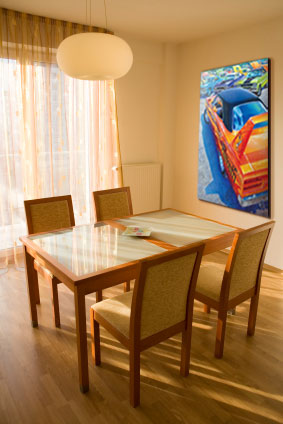 Large Gallery Edition canvas of RT440 Six Pack painting in dining room.