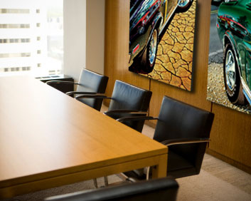 Boardroom art on display: Michael Irvine's Mustang paintings.