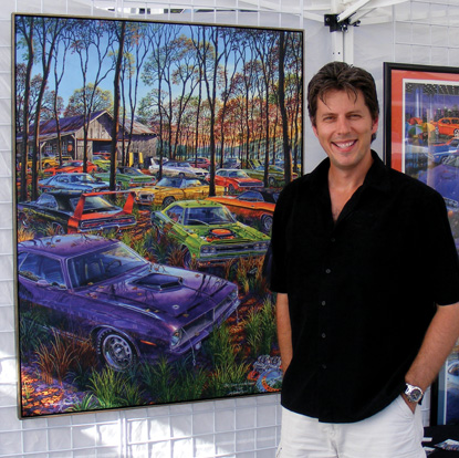 Artist Michael Irvine with Gallery Edition Giclée canvas.
