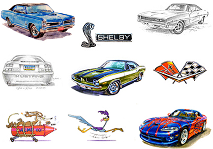 GM Chevy Ford Shelby Mopar Dodge artwork