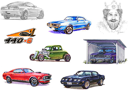Muscle cars by automotive artist Michael Irvine